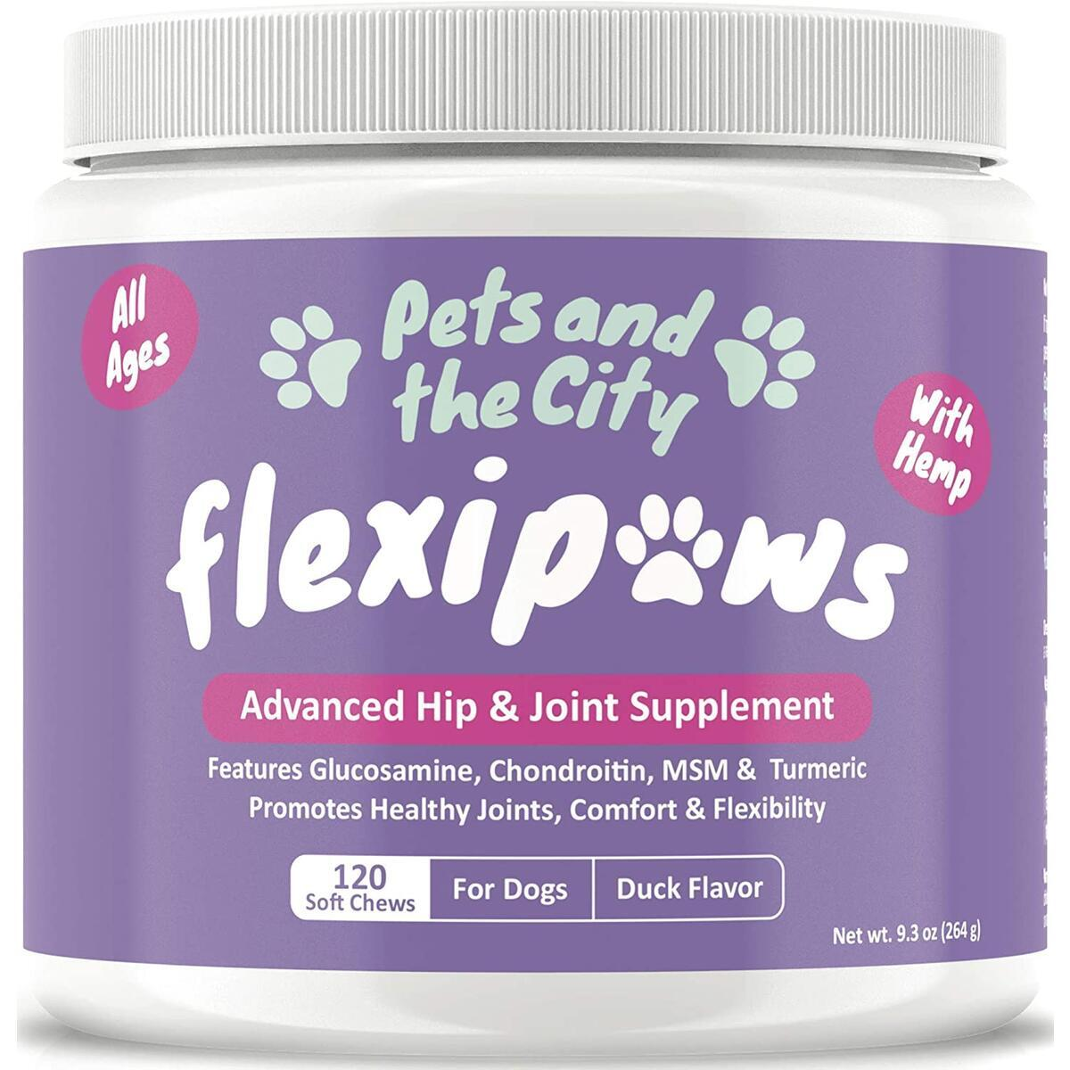 Glucosamine for Dogs - Hip & Joint Supplement with Hemp Oil, Omega 3, Vitamins, MSM, Chondroitin, Turmeric & Yucca - Mobility & Energy - Joint & Arthritis Pain Relief - 120 Duck Flavor Treats