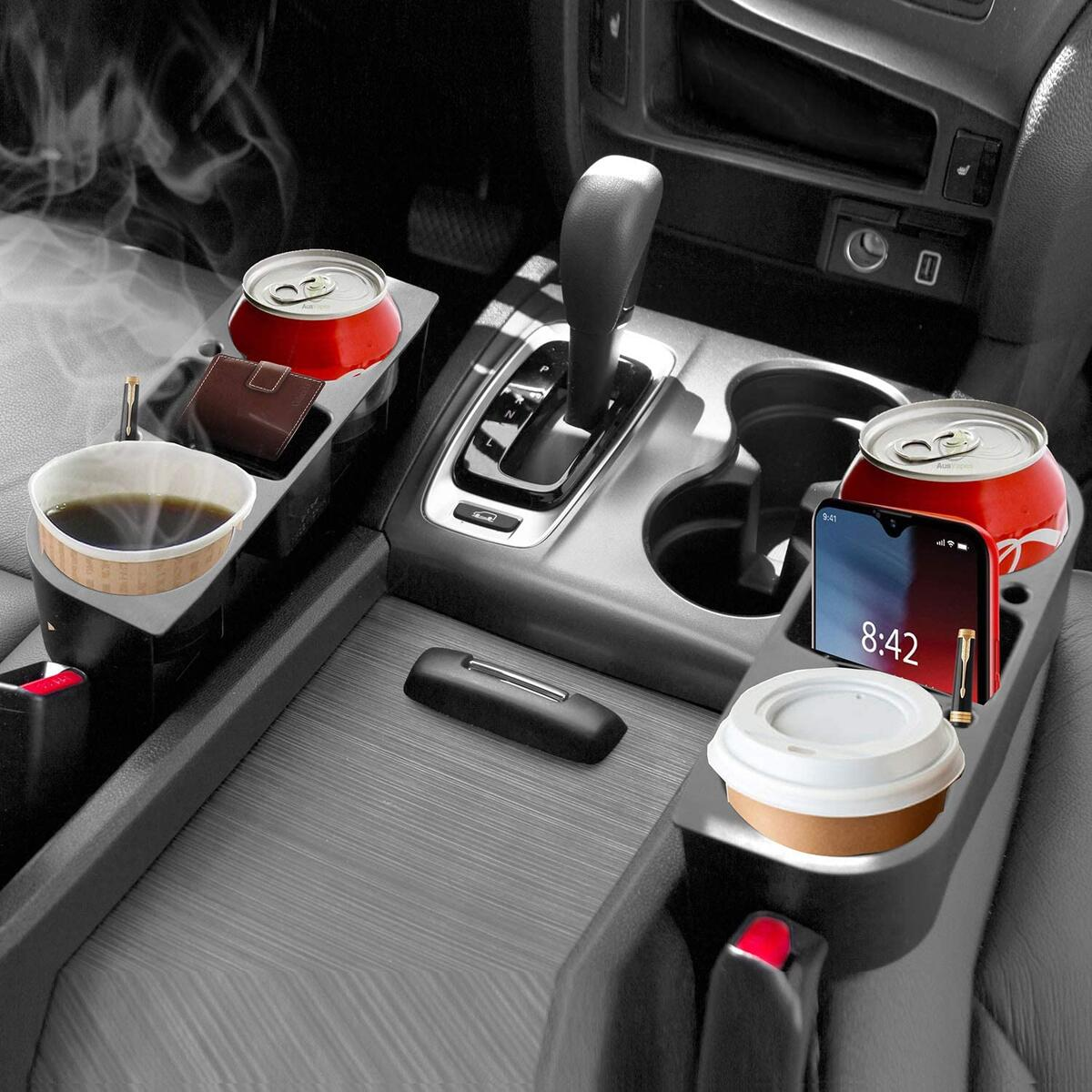 lebogner Between Car Seat Cup Holder Gap Filler, 2 Pack Side Of Center Console Drink Holder For Cups, Cans And Bottles, Multifunction Crevice Caddy Catcher With A Storage Organizer Area For Your Phone