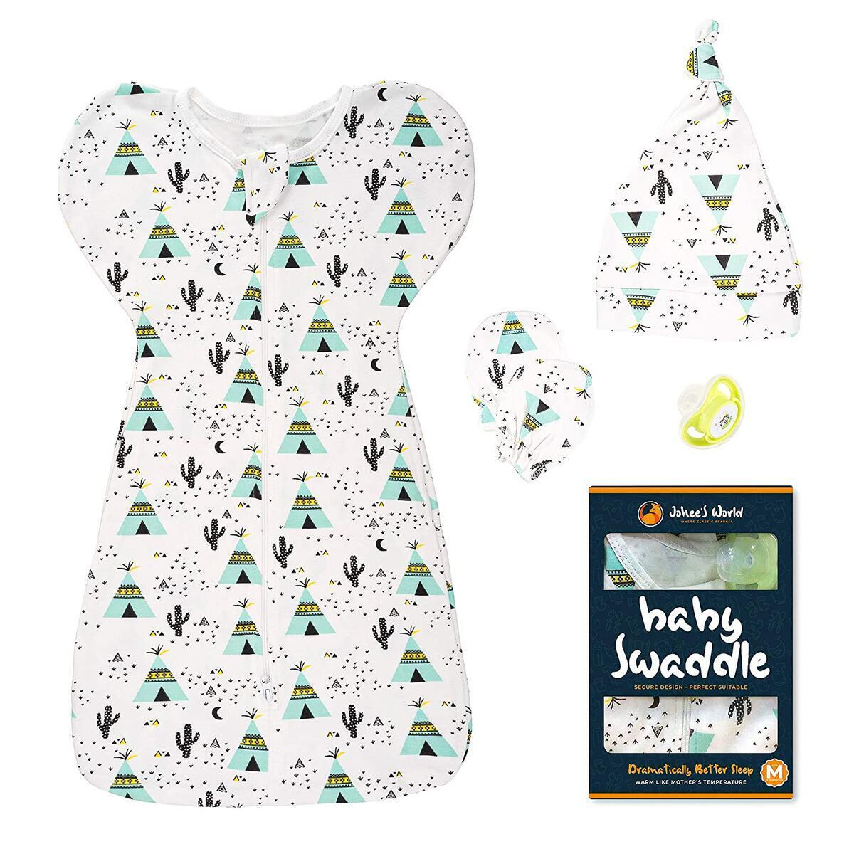 Swaddle (Green, M) 5pc. Cotton Swaddle Blanket Set with Baby Hand Mittens, Hat, Pacifier - Self-Soothing Newborn Infant Snug Fit Sleep Sack Wrap Calms Startle Reflex, Improves Sleep (0-3 Months)