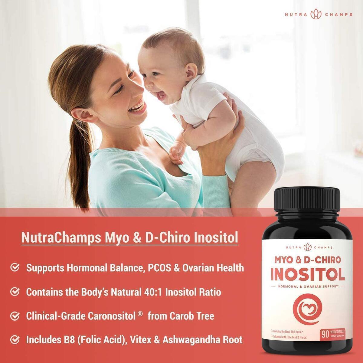 Myo-Inositol & D-Chiro Inositol Supplement [Natural 40:1 Ratio] B8 Powder Enhanced with Vitex & Folic Acid | Ovarian & PCOS Support + Fertility & Hormone Balance for Women & Men | 90 Vegan Capsules