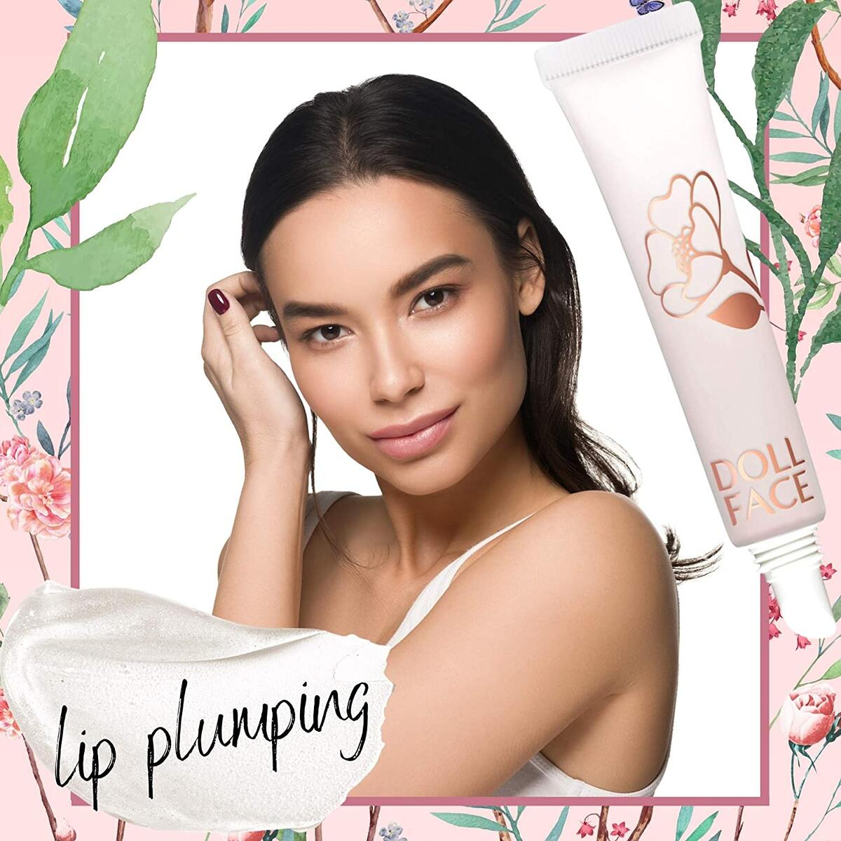 DOLL FACE Lip Plumper, Poutrageous Plumping Lip Gloss Balm with MaxiLIP Tri-Action Complex - Plumps, Moisturizers & Smooths Lips, Enhancer, 0.33oz (Clear)