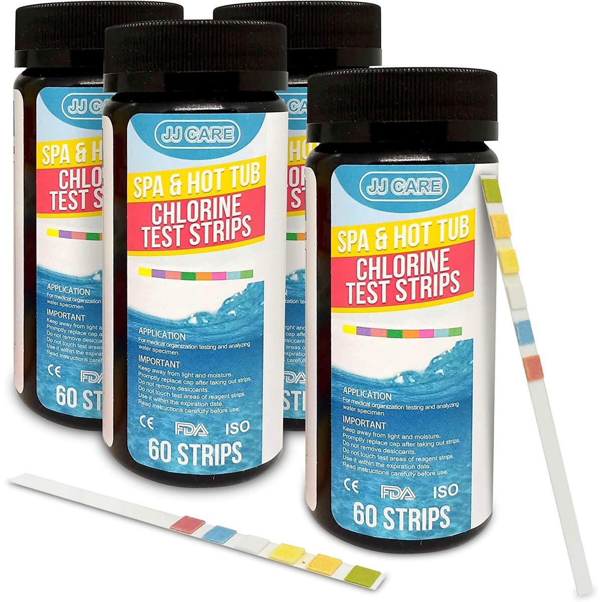 JJ CARE [240 Strips] Spa Test Strips for Hot Tubs 6-in-1 Spa Test Kit - Test Strips for Pools and Spa - Hot Tub Testing Strips - Pack of 4 Bottles