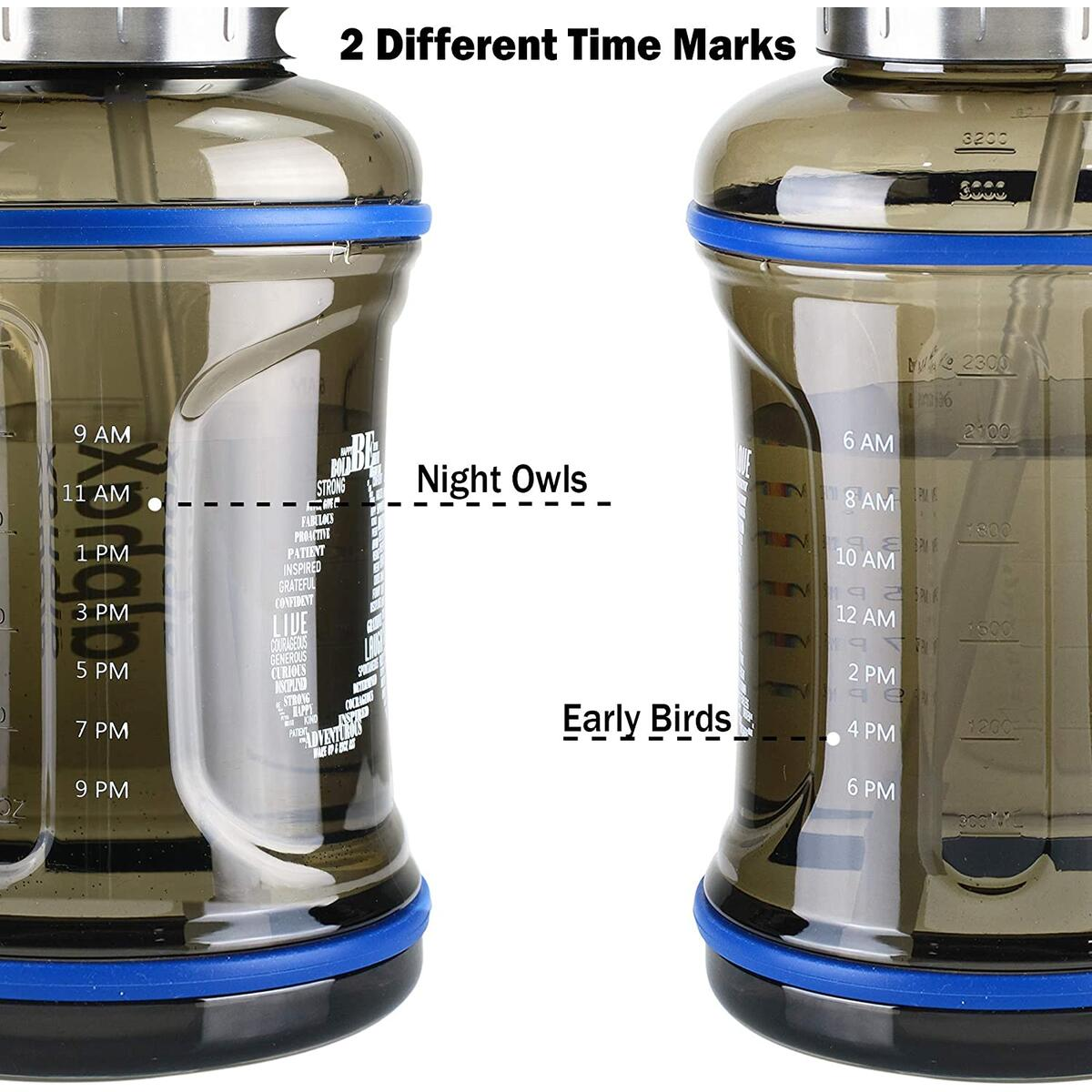 AlphaX Large 108oz/3.2L Daily Water Bottle & Straw, Motivational, Reusable Water Jug with Tracking & Time Marker, Stainless Steel Cap - Fitness, Gym, Office & Outdoor Sports - Available in Three Colors - Offer Cannot be Combined with Any Ongoing Sale