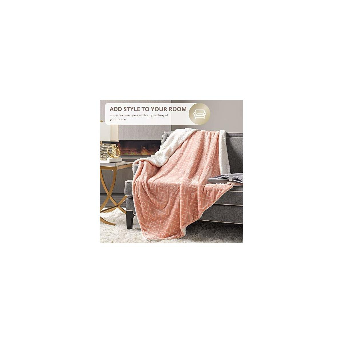 Hyde Lane Soft Sherpa Blanket for Couch & Bed – 2 Way Reversible Pink Throw Blanket with Cozy Fuzzy Faux Fur – Diamond Blush, 50x60