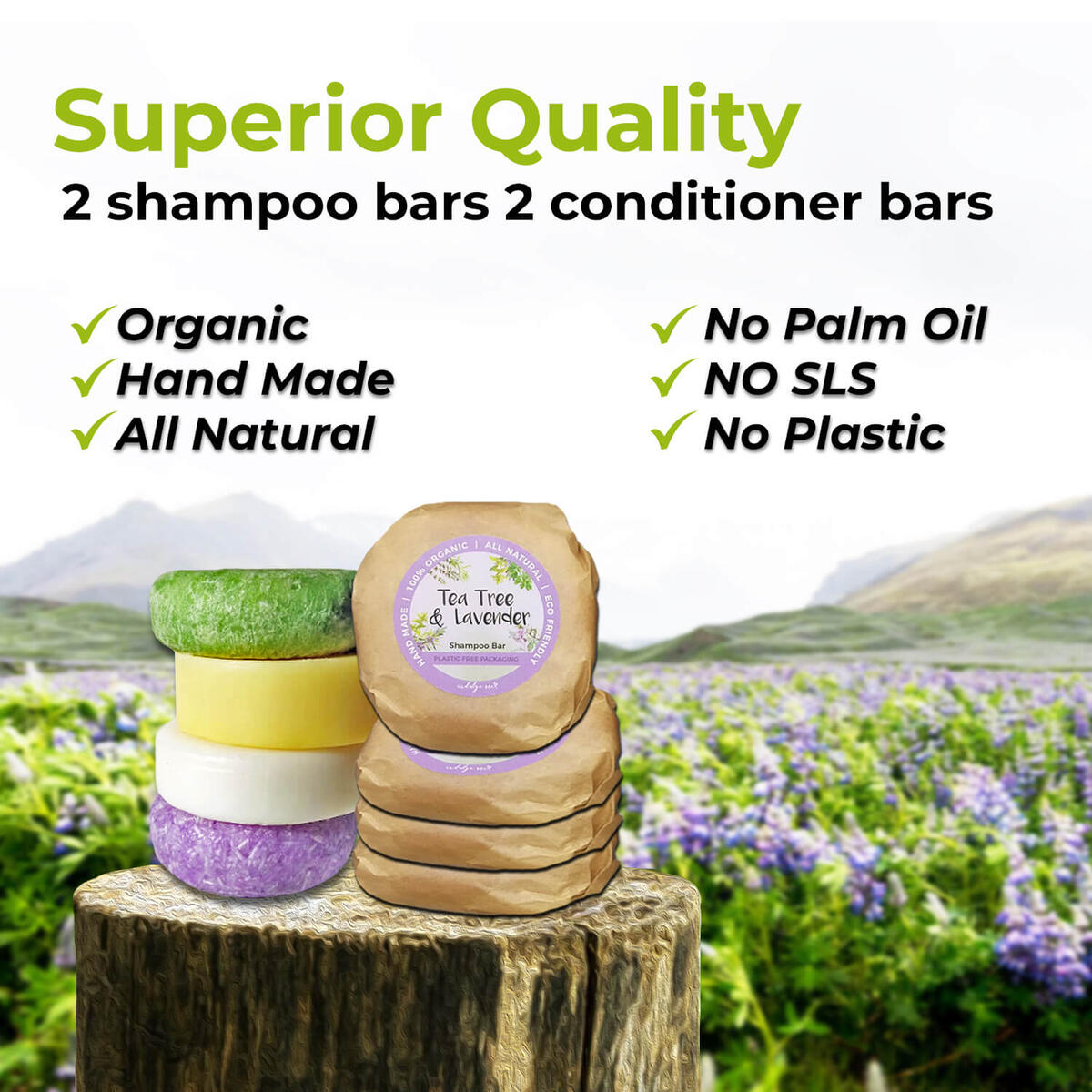 Solid Shampoo and Conditioner Bar - Eco Friendly Hair Care, Plastic FREE Packaging