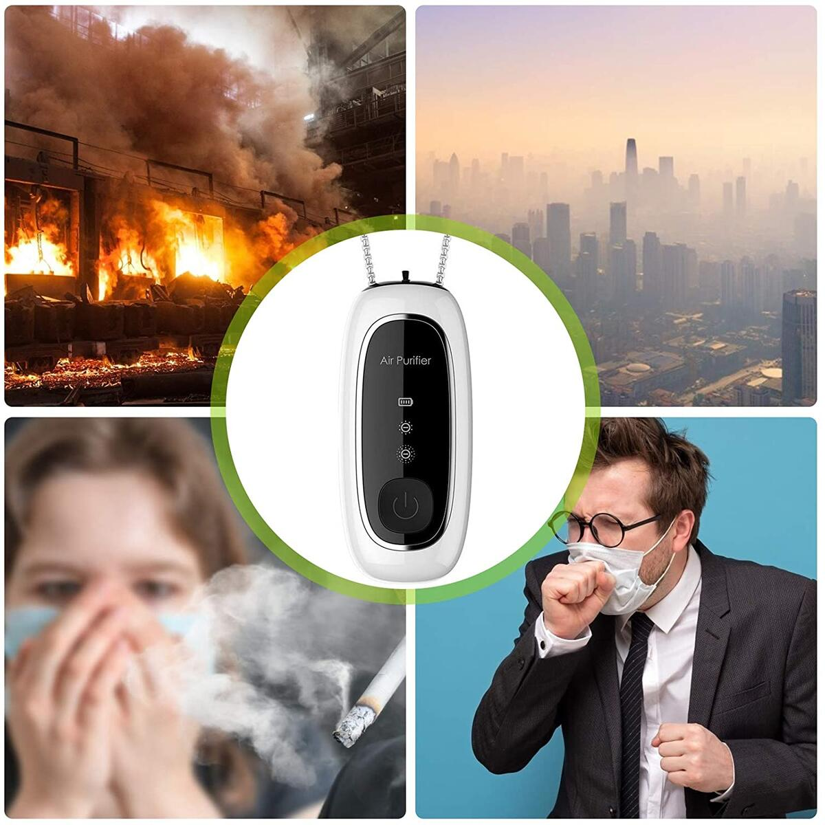 Wearable Air Purifier Mecklace,Portable Mini Personal Air Purifier Necklace Around The Neck for Tourism Running Cycling Mountaineering Travel Size Negative Ion Generator
