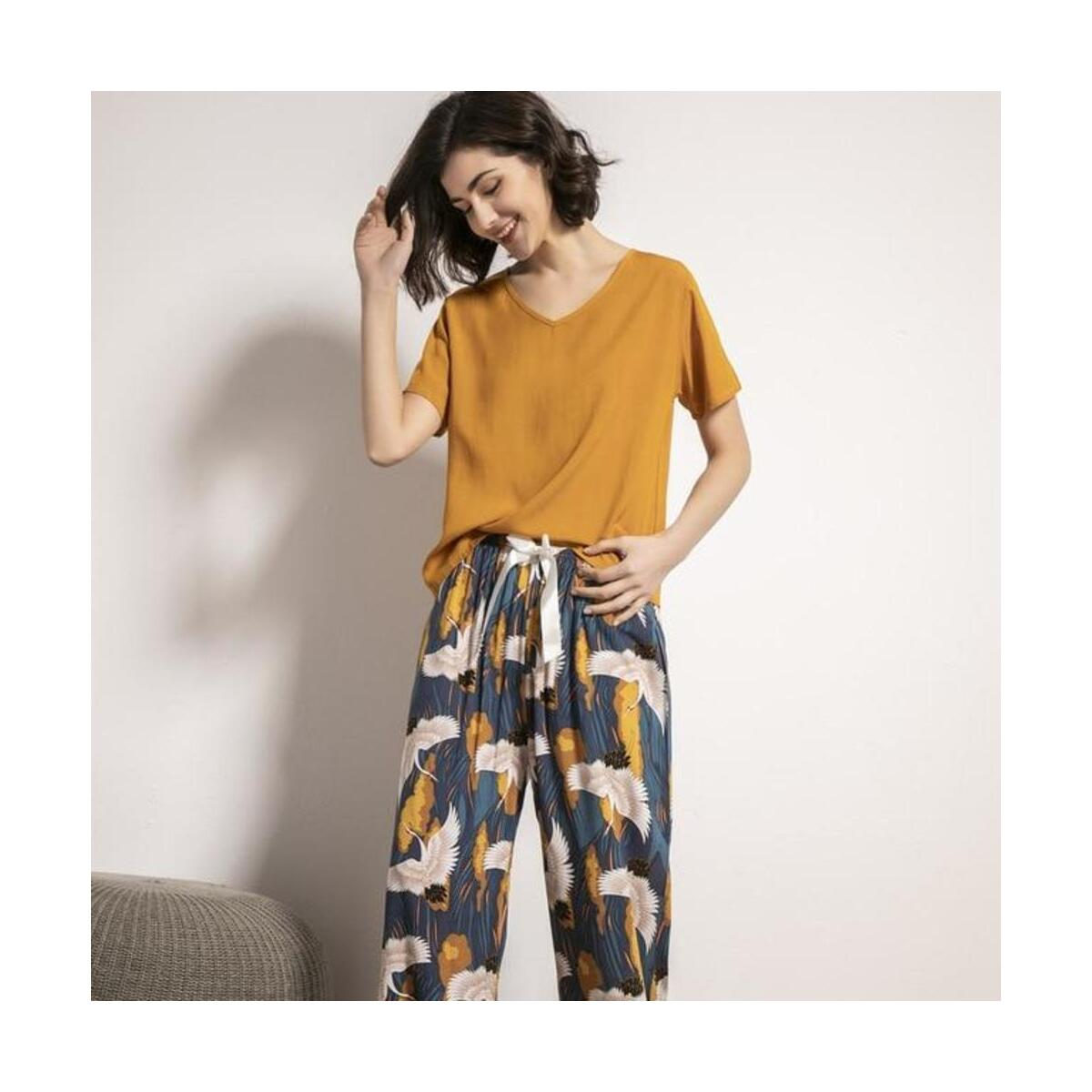 Short Sleeve Tops with Long Trousers Pajamas Set