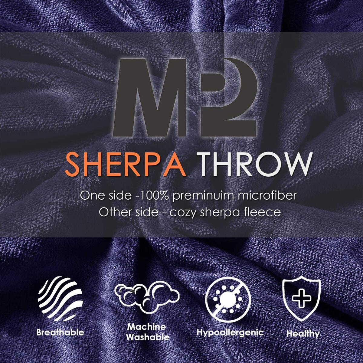 Cozy Sherpa Throw Travel Blanket | Fuzzy Soft Plush Flannel Blanket for Sofa, Couch, Bed, Outdoor - 50x60 Inches, Navy