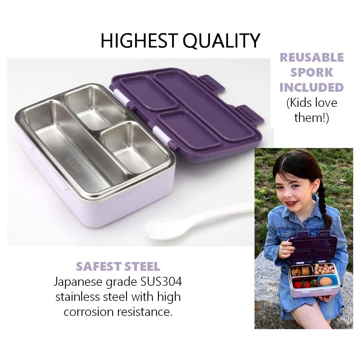 Stainless Steel Bento Lunch Box for Small Girls - Purple Unicorn PRIME ONLY