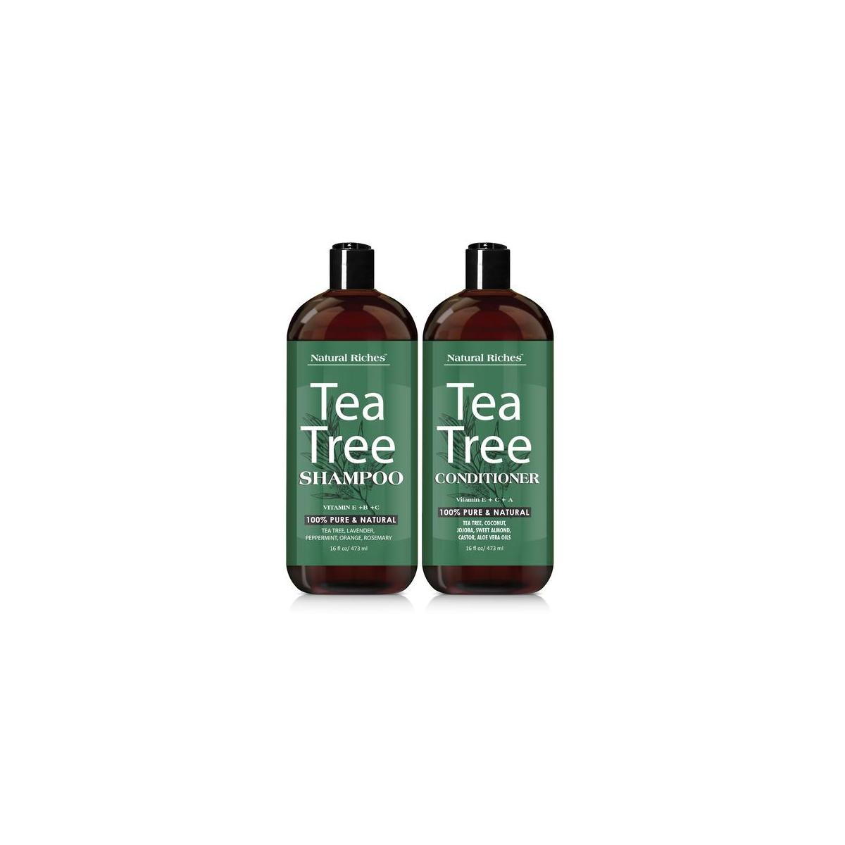 Sulfate free Tea tree oil Shampoo & Conditioner Set by Natural Riches - Deep Cleansing for Dandruff, Dry Scalp & Itchy Hair  2x16oz …
