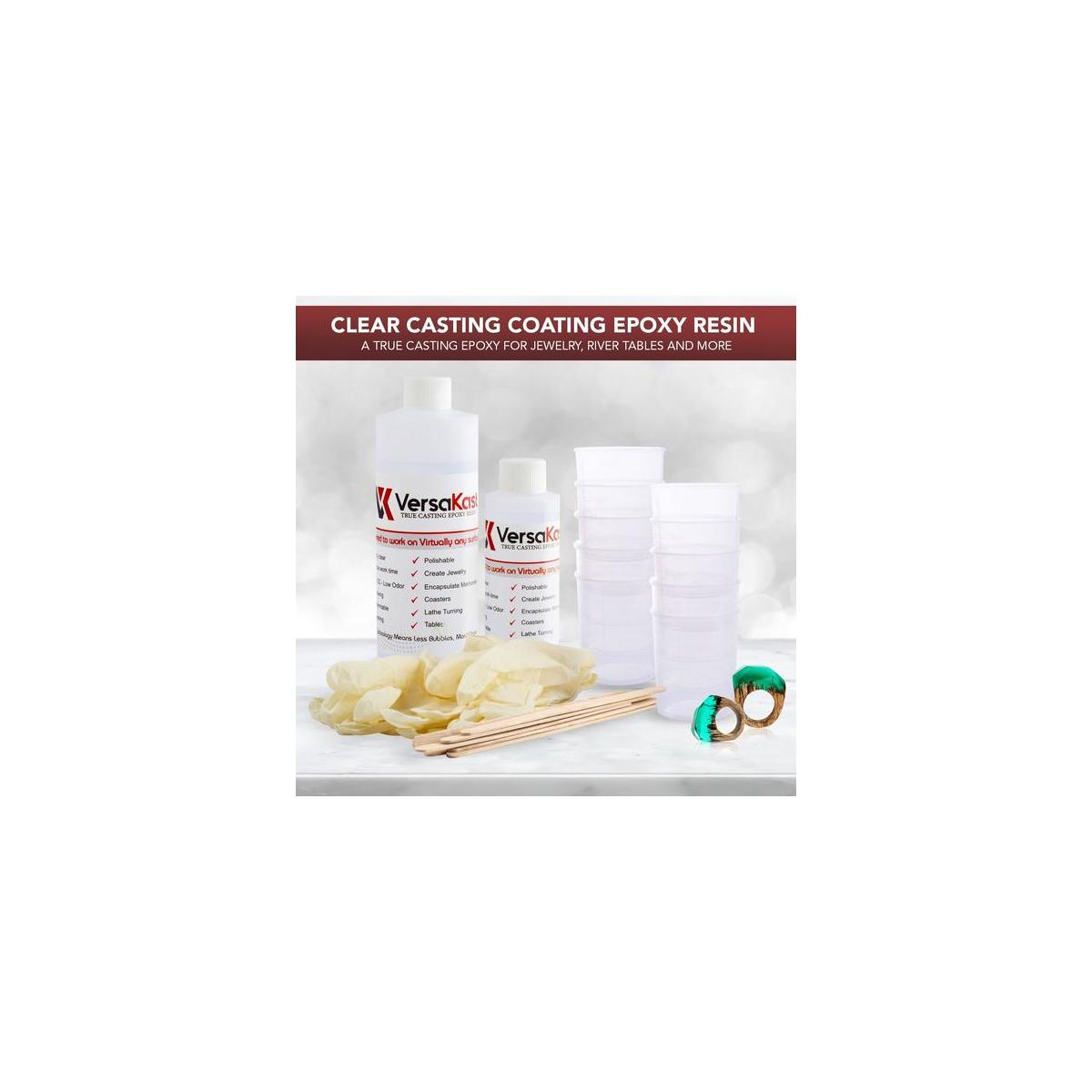 Casting Resin Epoxy Kit - 16 .oz -2 Part - Cutting Edge 3-to-1 Ratio Makes This Crack, Chip, UV Proof, Odorless - A True Casting Epoxy for Jewelry, River Tables and More