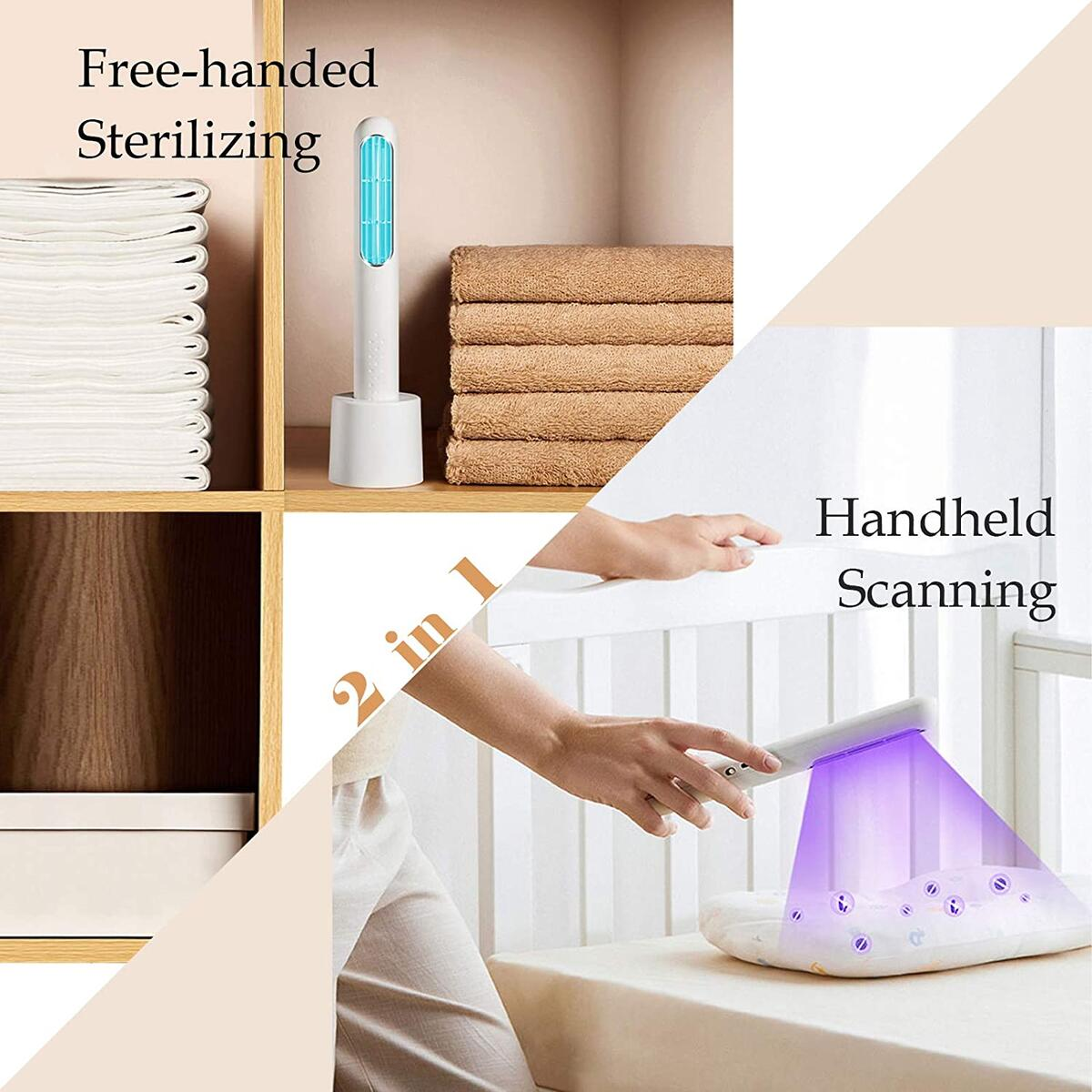 UV Light Sanitizer Wand, Portable UV-C Light Sterilizer, Disinfecting Handheld Ultraviolet Light Sanitizer Lamp Chargeable for Travel Car Home Hotel Baby Toys Phone Kills 99.9% of Germs & Viruses