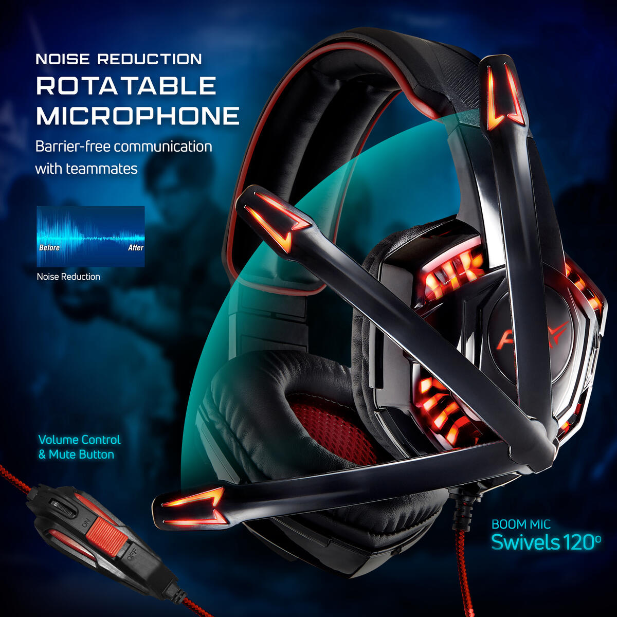 PBX Falcon 5 Elite Gaming Headset | Wired LED Headset with Boom Microphone and Noise-Reduction