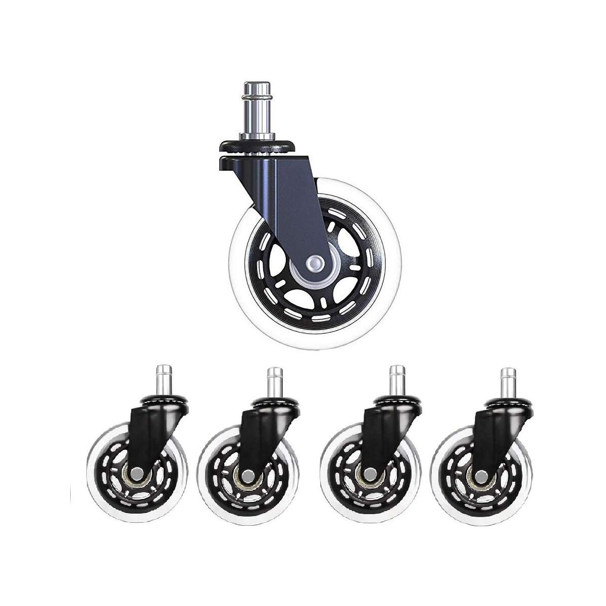 BigTron Office Chair Wheels Replacement, Heavy Duty 3 Rubber Chair Ball Casters for Carpet Hardwood Floors Wood-Set of 5