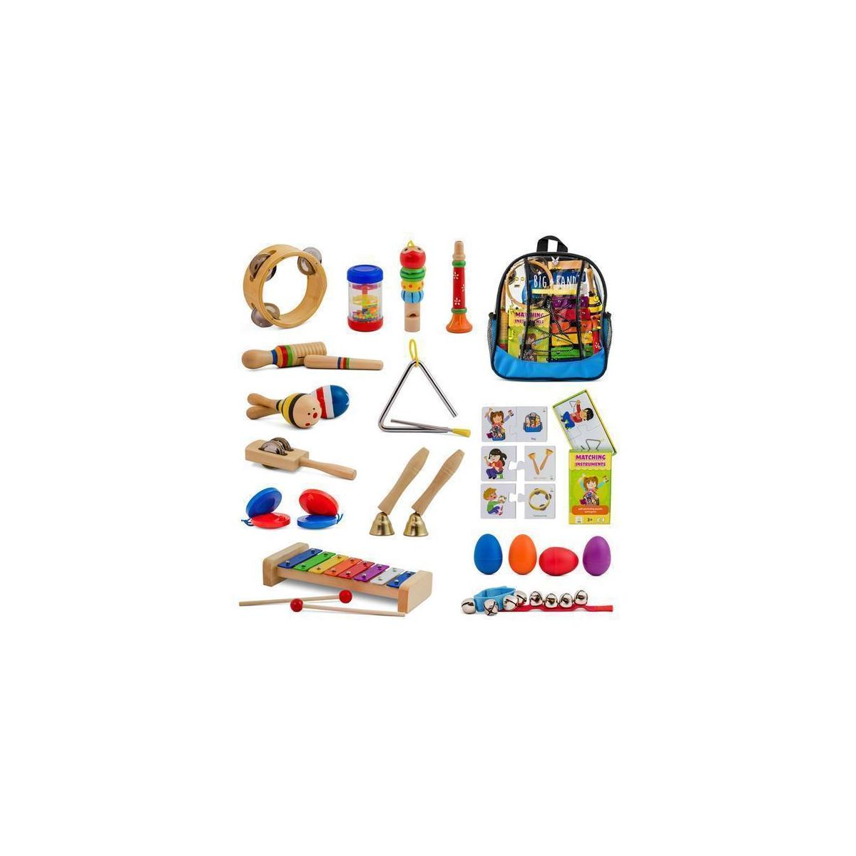 26 pc. Toddler Musical Instruments Set + Bonus Puzzle Matching Game | Wooden Toys Educational Percussion Kit with Xylophone and Storage Backpack. Big Band