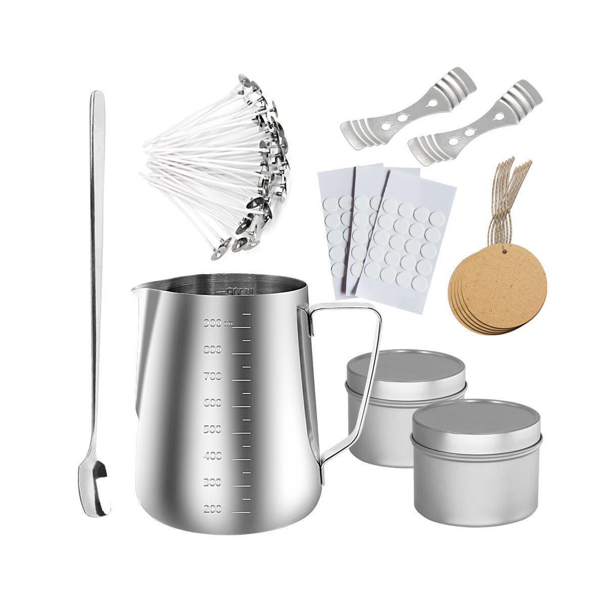 Candle Making Kit- KissBear 126 PCS DIY Candle Making Supplies with 900ml Candle Make Pouring Pot Candle Wicks Wicks Sticker 3-Hole Candle Wick Holder Candle Box Spoon and Tag for DIY Candles