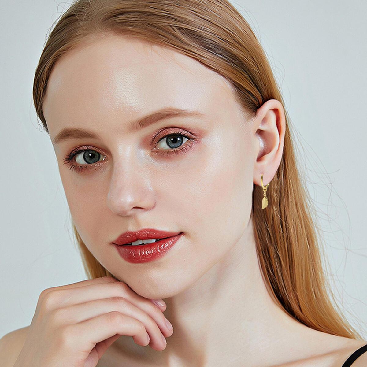 YeGieonr Small Dangle Hoop Earrings -Leaf Hoop Earrings -925 Sterling Silver with 14k Gold Plated,Minimalist Dainty Huggie Hoop Earrings with Tiny Charms For Women/girls/teens